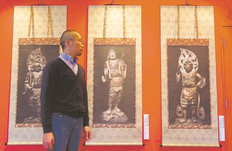 今年9月パリの個展に展示予定の「四浦和紙仏像作品」の一部