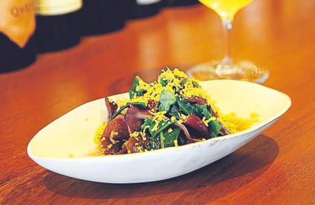 季節野菜と高菜の種、ミモレットのおひたし