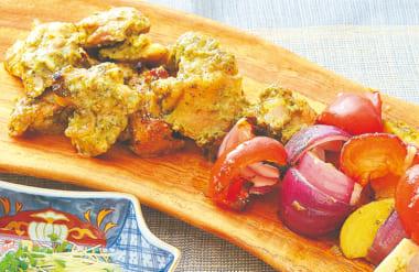 鶏もも肉のバジルソース焼
