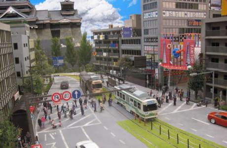 熊本城を見ることができる「通町筋」をイメージしたミニチュア