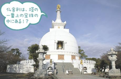 日蓮宗の藤井日達上人が1954年に建立。インドの故・ネール首相から贈られた仏舎利=釈迦(しゃか)の遺骨=が納められています