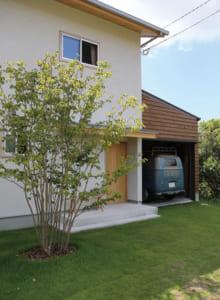玄関横のヤマボウシの木はMさん邸のシンボルツリー