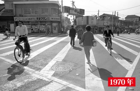 スクランブル交差点設置直後、昭和45年の子飼交差点