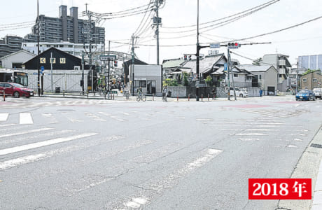 道路拡張工事中の現在の子飼交差点