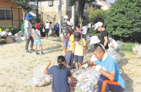 夏休みのラジオ体操、資源物回収、レクリエーションなど、さまざまな活動を行っている子ども会