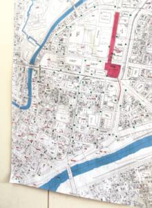校区内の消火栓の位置を落とし込んだ地図をチェックして、校区内を回ります