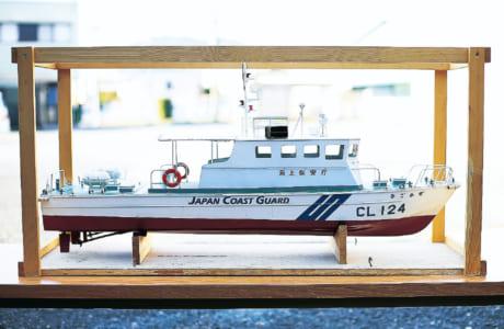 三角港に見学に行き、資料を集めて自作した自慢の〝ひごかぜ〟。「日本の海を守っている海上保安庁の船にこだわっています」と松永さん