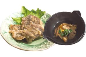 鹿の天ぷら、イノシシの煮物