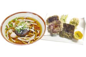 椎葉そば、山菜と椿の天ぷら