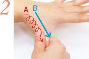 親指の付け根を持ち、指先に向かって小さく円を描くようにマッサージ(A)。再び親指の付け根を持ち、指先に向かって滑らせる(B)。他の指も同様に。