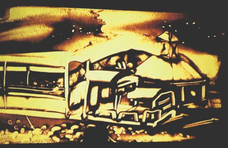 サンドアートで「南阿蘇水の生まれる里白水高原駅」によみがえったトロッコ列車(作品の一部)