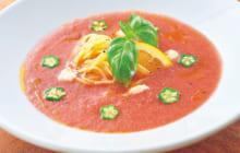 画像:スイカとトマトのガスパチョ風冷製パスタ