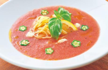 スイカとトマトのガスパチョ風冷製パスタ