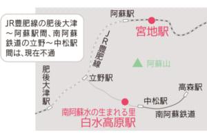 JR豊肥線の肥後大津〜阿蘇駅間、南阿蘇鉄道の立野〜中松駅間は、現在不通