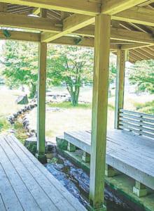 休憩所は水路を囲んで座れるようになっています。日陰で涼めるのがポイント