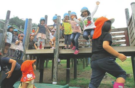 園外保育で元気いっぱい遊ぶ子どもたち