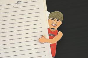 ノートやメモ帳に差し込むと、端から選手がのぞく「選手ダイカットメモ」600円。メッセージカードにも◎