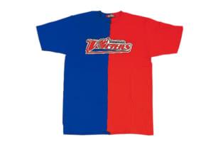 斬新なデザインが人気の半分Tシャツ3000円。中央のロゴは刺しゅうになっており、存在感抜群です