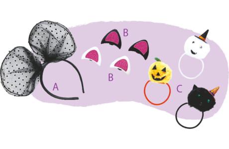 (右から)ゴム600円/C、ネコ耳ヘアピン/B、カチューシャ/A