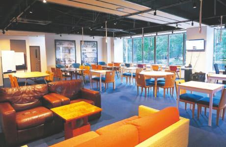 大きな窓から緑を望めて開放的。ソファ・テーブル席、会議室や電話ブース、コピー機、無料のドリンクコーナーも備わります