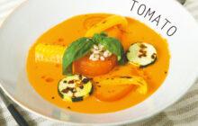 画像:鮮やかな夏野菜が食欲そそる! 真っ赤なトマトと夏野菜の冷製スープ
